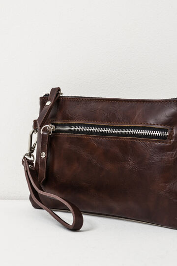 Solid colour clutch with zip, Brown, hi-res