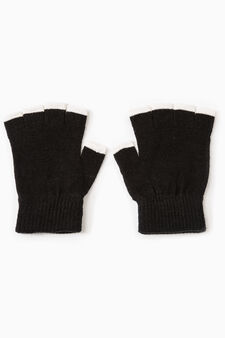 Fingerless gloves with contrasting edging, Black/White, hi-res