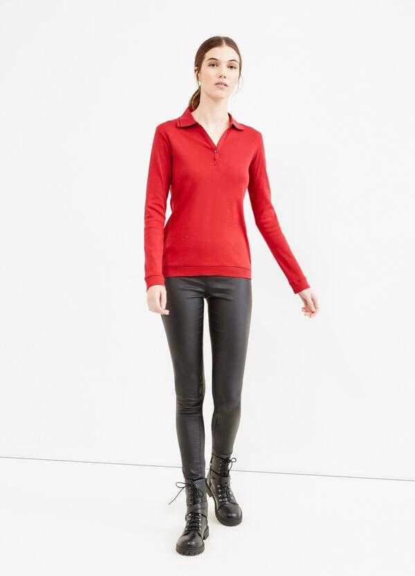 100% cotton V neck polo shirt | OVS