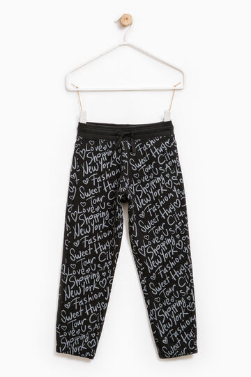 Patterned joggers in 100% cotton, Black, hi-res