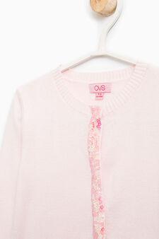 Cotton blend sequinned cardigan, Pink, hi-res