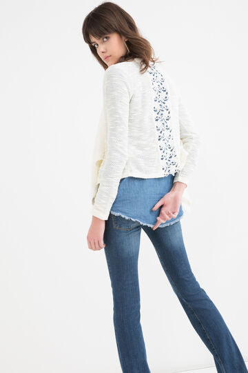 Solid colour cotton blend cardigan, Milky White, hi-res