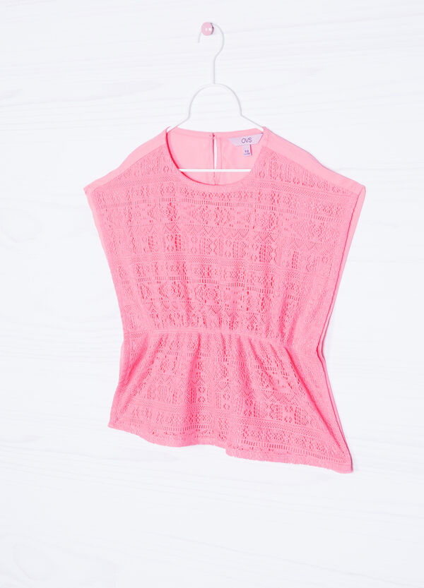 Solid colour openwork blouse   OVS