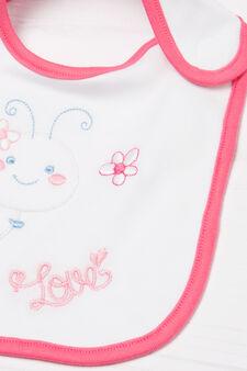 Bavetta puro cotone stampata, Bianco/Rosa, hi-res