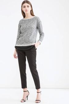 Cotton blend mélange sweatshirt., Black, hi-res