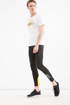 T-shirt sportiva puro cotone stampa, Bianco, hi-res