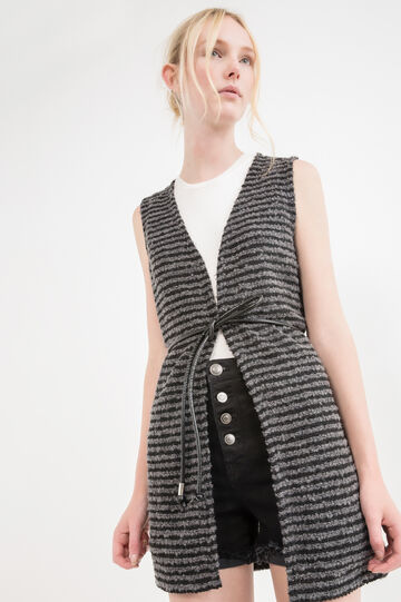 Long wool blend waistcoat with striped pattern, Black/Grey, hi-res