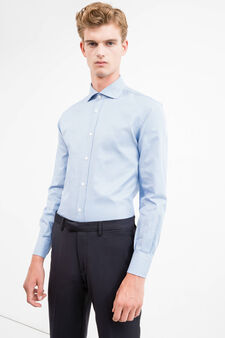 Formal shirt with micro pattern, Soft Blue, hi-res