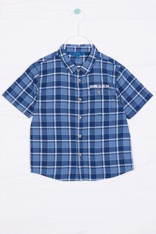 Camicia puro cotone tartan, Azzurro, hi-res