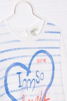 T-shirt puro cotone con stampa , Bianco, hi-res
