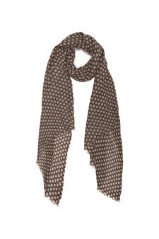 Solid colour printed scarf, Olive Green, hi-res