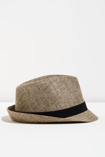 Wide-brimmed hat with band, Beige, hi-res