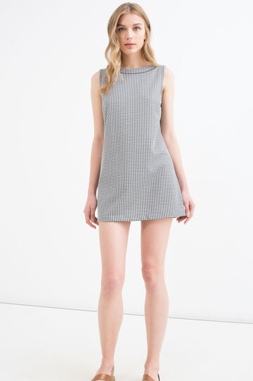 Hounds' tooth short dress, Black/White, hi-res