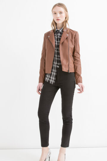 Leather look jacket with zip and button, Brown, hi-res