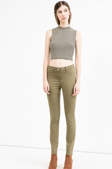 Stretch trousers with double faux pocket, Green, hi-res