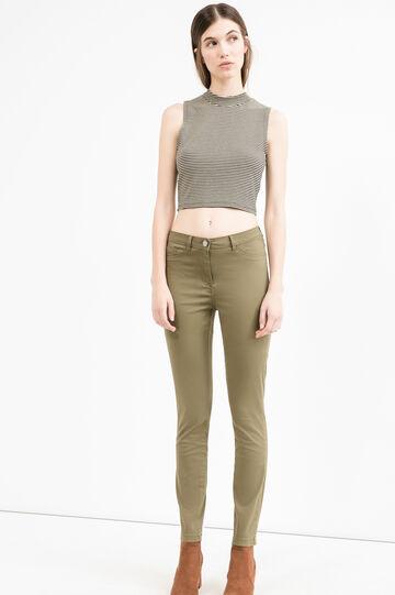 Pantaloni stretch doppia tasca finta, Verde, hi-res