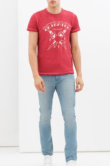 T-shirt stampata con cuciture a contrasto, Rosso, hi-res