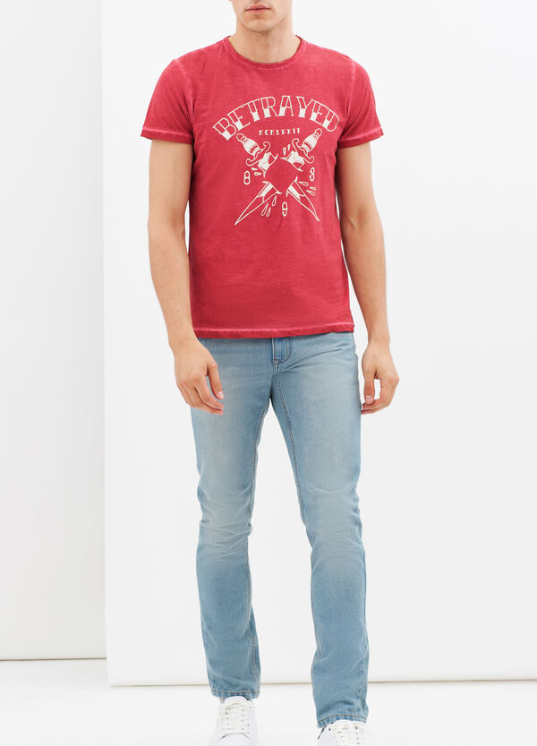 Printed -T-shirt with contrasting stitching. | OVS