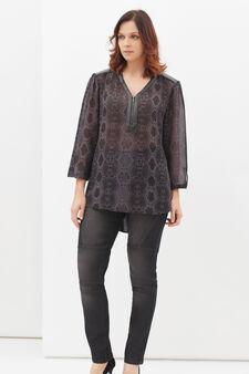 Curvy cotton blend blouse, Grey, hi-res