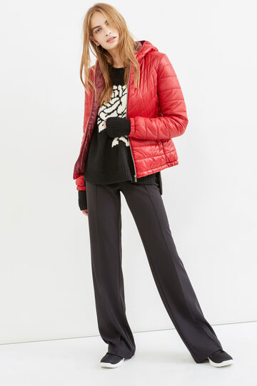 Down jacket with stretch cuffs and hood, Red, hi-res
