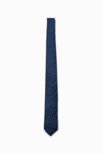 Patterned tie in 100% silk, Denim Blue, hi-res