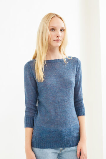 Knitted mohair wool and viscose pullover, Denim, hi-res