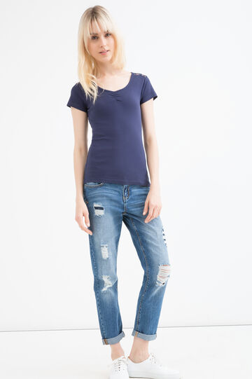 100% cotton T-shirt with lace inserts, Ocean Blue, hi-res