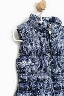 All-over print padded waistcoat, Blue, hi-res