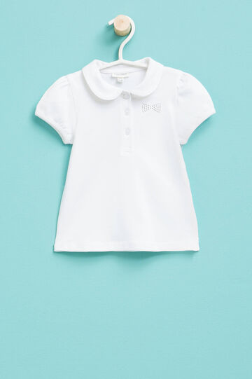 Polo shirt with rounded collar and diamantés