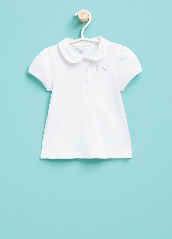 Polo shirt with rounded collar and diamantés | OVS