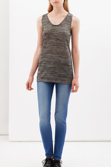 Vest with spaghetti straps and lamé, Black/Grey, hi-res