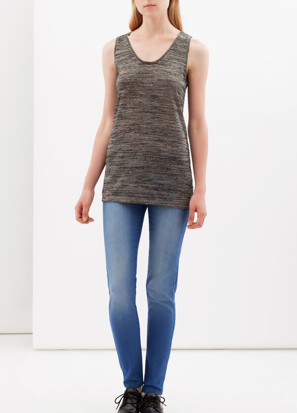 Vest with spaghetti straps and lamé | OVS
