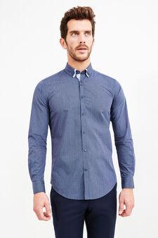 Camicia formale slim fit doppio colletto, Blu scuro, hi-res