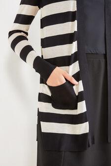 100% viscose striped cardigan, Black, hi-res
