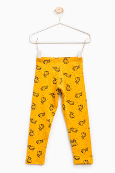 Patterned leggings in stretch cotton, Ochre Yellow, hi-res