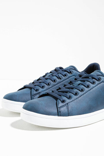 Openwork sneakers with contrasting back, Navy Blue, hi-res