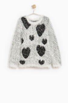 Shaggy pullover with hearts pattern, Milky White, hi-res