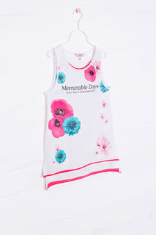 Long stretch cotton vest top with print, White, hi-res