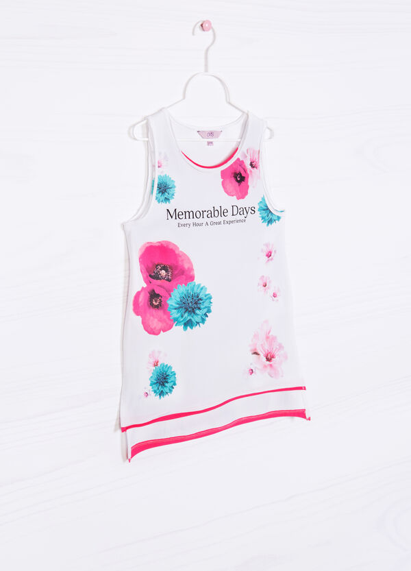 Long stretch cotton vest top with print | OVS