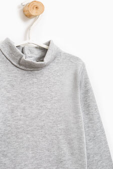 100% cotton T-shirt with high neck, Grey Marl, hi-res