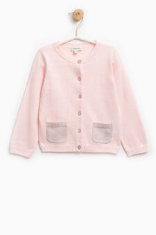 Knitted cardigan with two pockets, Light Pink, hi-res