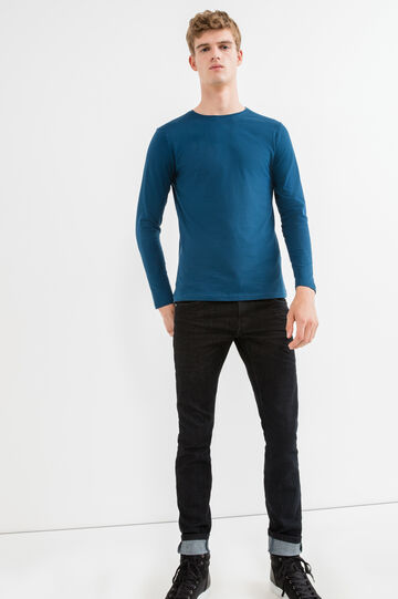 Long-sleeved 100% cotton T-shirt, Blue, hi-res