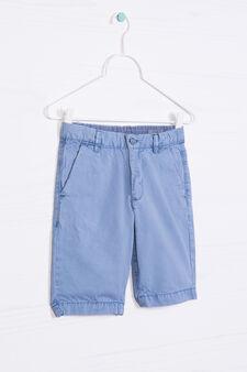 Solid colour 100% cotton Bermuda shorts, Deep Blue, hi-res