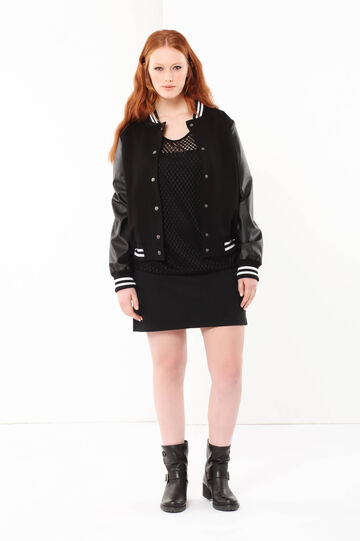 Curvyglam bomber jacket with imitation leather inserts, Black, hi-res