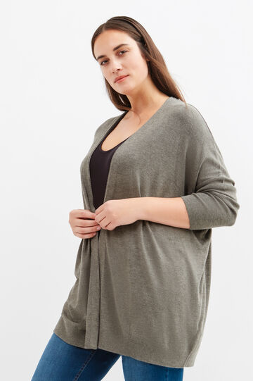 Curvy viscose blend long cardigan, Grey, hi-res