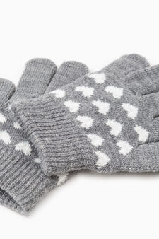 Solid colour gloves with embroidery, Grey, hi-res