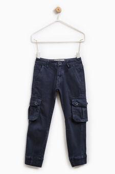 Pantaloni chino cargo cotone stretch, Blu denim, hi-res