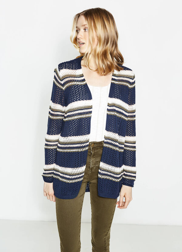 Striped knitted cardigan in 100% cotton | OVS