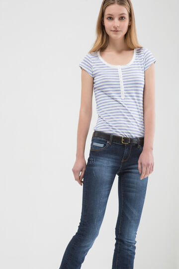 Striped T-shirt in 100% cotton, Light Blue, hi-res