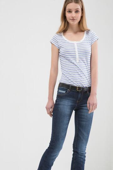 T-shirt puro cotone a righe, Azzurro, hi-res